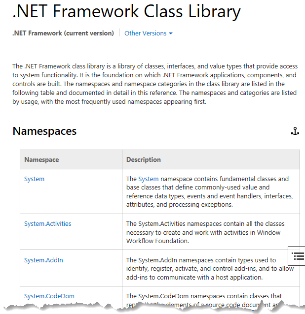 The .NET Framework Class Libray page showing a listing of namespaces.