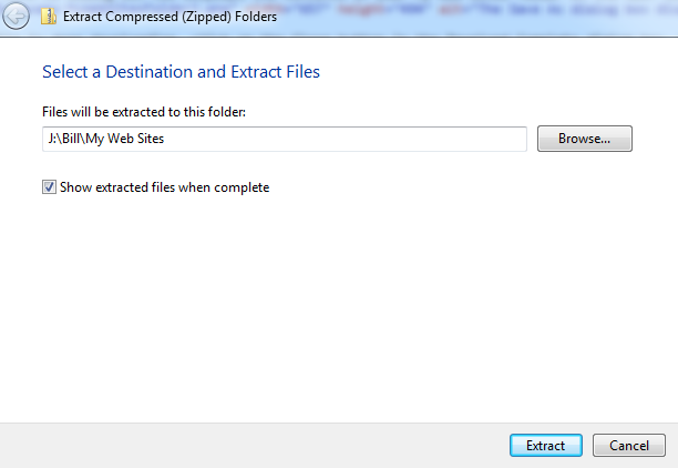 A screenshot of the Extract Compressed (Zipped) Folders dialog box.