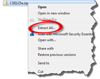 Screenshot of the Extrat All.. option circled on the context menu that appears after right-clicking on the downloaded CSIS125A zip file.