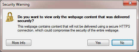Picture of the Internet Explorer Security Warning Dialog box.