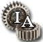 Image of two gears and thw capitalized letters I & A.