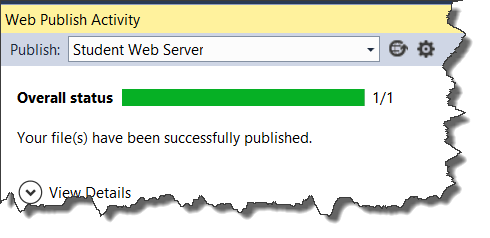 Image of the Web Publish Activity window showing that the file(s) were successfully published.