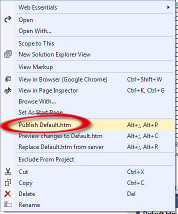 Image of the Publish default.htm option being selected from the context menu.